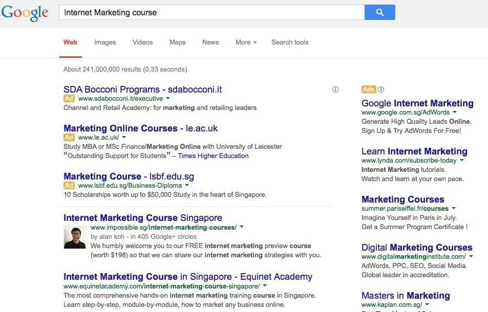 "Page 1 number 1 for keyword ""Internet Marketing Course"""